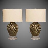 Pair of Italian Brass Swirl Vases Mounted as Custom Lamps circa 1950