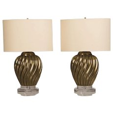 Pair of Italian Brass Swirl Vases Mounted as Custom Lamps circa 1950