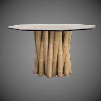 Vintage Budji Collection Bamboo Table Base, American circa 1980, Glass Top