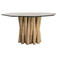 Vintage Budji Collection Bamboo Table Base, American circa 1980, Glass Top