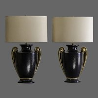 Pair Art Deco Black and Gold Lamps, Italy circa 1930