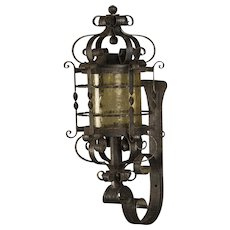 French Forged Iron Wall Lantern, Glass Shade, circa 1940