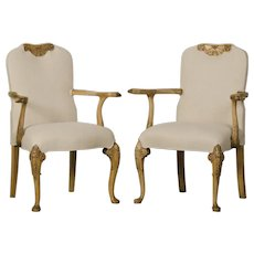 Pair Antique George I Style English Walnut Armchairs, Eagle Head circa 1890