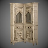 Régence Louis XV Period Painted French Corner Cabinet Buffet a Deux Corps circa 1740