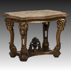 Antique Italian Gilded Wood Table from the Belle Epoque Period circa 1890