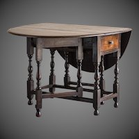 English Oak Drop Leaf Table with Drawer circa 1790