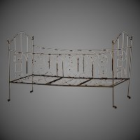Antique French Iron Campaign (Folding) Bed circa 1875