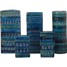 Set Five Bitossi Ware Glazed Vintage Italian Vessels circa 1965
