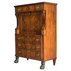Antique Dutch Empire Period Mahogany Secretaire, Holland circa 1820