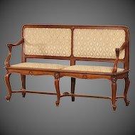 Antique French Art Nouveau Period Walnut Settee Bench circa 1900