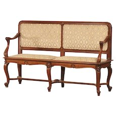 Antique French Art Nouveau Period Walnut Settee Bench circa 1900