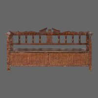 Hungarian Romanian Antique Painted Pine Bench circa 1875