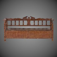 Hungarian Romanian Antique Painted Pine Bench circa 1875