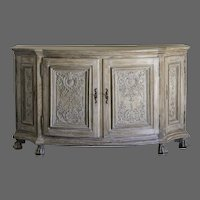 Antique German Rococo Period Carved Oak Buffet, Four Doors, circa 1760, Painted Decoration