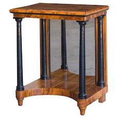 Antique Austrian Biedermeier Period Walnut Console Table, Mirrored Back, circa 1825