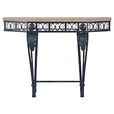 Art Deco Period Painted Iron and Marble French Console Table circa 1930