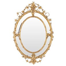 Huge French Wine Estate Oval Giltwood Mirror circa 1875