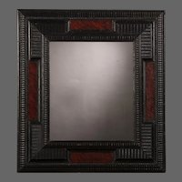 Antique Dutch Ebonized Faux Tortoise Shell Mirror circa 1860