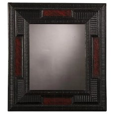 Antique Dutch Ebonized Faux Tortoise Shell Mirror circa 1860