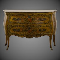 Italian Louis XV Rococo Style Antique Painted Bombè Chest circa 1885