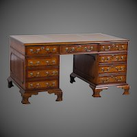 George III Style Burl Walnut Partners Desk Handmade in England