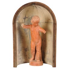 Antique Italian Stone Sculpture of a Youth or Putto Enclosed in an Zinc and Wood Apse, circa 1770