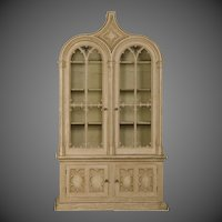 "English Gothic Revival ""Strawberry Hill"" Painted Cabinet of Grand Scale, circa 1840"