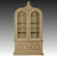 """English Gothic Revival """"Strawberry Hill"""" Painted Cabinet of Grand Scale, circa 1840"""