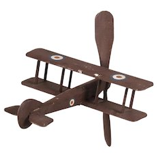 Vintage English Hand Carved and Painted Biplane circa 1940