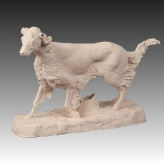 Vintage French Sculpture Maquette of a Hunting Dog