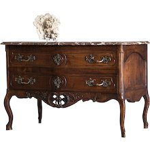 Antique French Louis XV Period Carved Walnut Commode, Original Shaped Marble Top, circa 1760