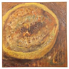 French Oil Painting of a Seeded Fruit or Vegetable circa 1960