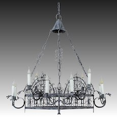 Vintage French Painted Iron Square Iron Chandelier circa 1930