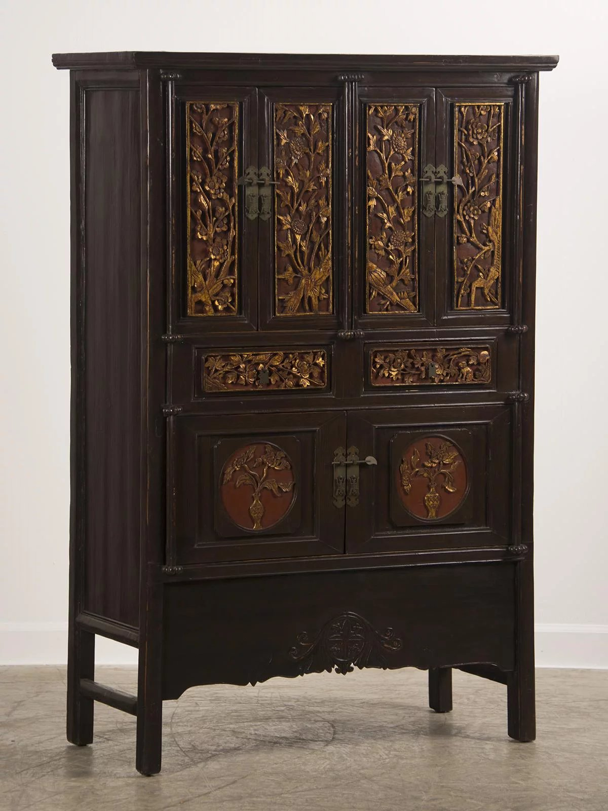 Antique Chinese Scholar S Cabinet Original Carved Lacquer