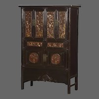 Antique Chinese Scholar's Cabinet, Original Carved Lacquer and Gilt, Kuang Hsu Period circa 1875