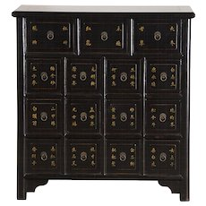 Antique Style Chinese Lacquer Apothecary Chest, Gilt Calligraphy