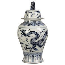 Vintage Chinese Blue and White Temple Jar with Lid circa 1975