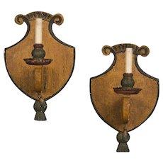 Pair of Antique Italian Single Arm Wooden Sconces circa 1870 Original Painted Finish