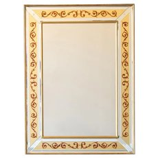Vintage Italian Jansen Style Reverse Painted Florentine Scroll Mirror circa 1950