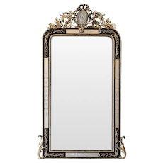 Antique French Napoleon III Ebonized and Gilded Mirror circa 1875