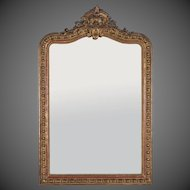 "Antique French Louis Philippe Mirror Régence Cartouche circa 1880 (39"" w x 60 1/2""h)"