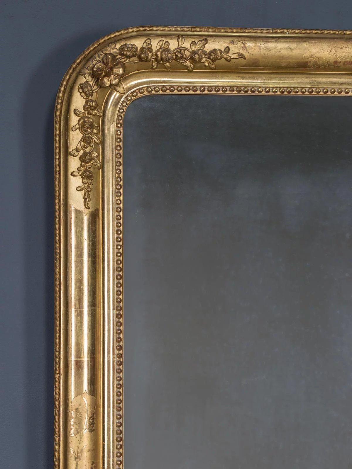 Antique French Louis Philippe Gold Leaf Mirror Circa 1870