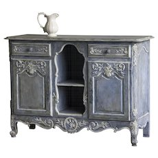 Antique French Louis XV Style Painted Walnut Buffet circa 1900