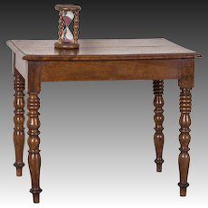 Antique French Louis Philippe Burl Chestnut Table with Drawer circa 1850
