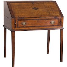 Antique English George III Period Oak Slant Front Desk circa 1760