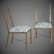 Pair Vintage French Neoclassical Gilded Metal Chairs circa 1940