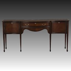 Sheraton Style Serpentine Front English Mahogany Sideboard Crossbanded with Rosewood Made by Hand