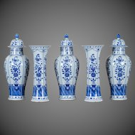 Five Piece Garniture Set Chinese Blue and White Porcelain circa 1880