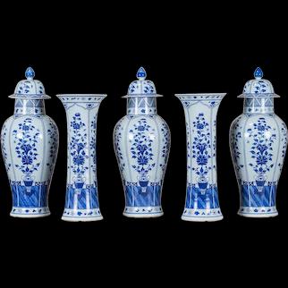 Five Piece Garniture Set Chinese Blue and White Porcelain circa 1880