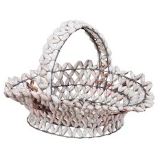 Vintage French Hand Made Shell Basket circa 1920